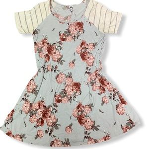 HONEYME FLOWING FLORAL AND STRIPE DRESS